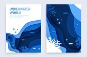 Underwater Ocean Abstract Paper Art Background Set. Paper Cut Underwater Background With Wave And Co poster
