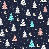 Christmas Seamless Pattern. Vector With Cartoon Christmas Trees, Crescent, Snowflakes, Stars, Decor  poster