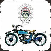 Skull Rider And Old Bike Color Logo Vector Motorbike Retro Label Poster poster