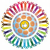 picture of ebusiness  - Global social networking concept of people teamworking and recommending each other as a community - JPG