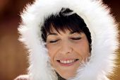 Woman nice and warm in winter coat