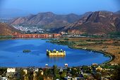 Water Palace (Jal Mahal) in Man Sagar Lake. Jaipur, Rajasthan, India. 18th Century. The palace Dzhal-Mahal