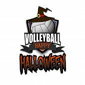 Halloween Pattern. Volleyball Logo Template Design. Volleyball Ball With Witch Hat. Pattern For Bann poster