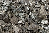 Pile Of Natural Black Hard Coal For Texture Background. Grade Anthracite Coals Often Referred To As  poster