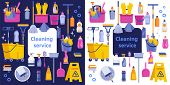 Cleaning Service Flat Illustration. Poster Template For House Cleaning Services With Various Cleanin poster