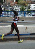 BELGRADE, SERBIA - APRIL 22: Mary Ptikany runs on April 22, 2012 in Belgrade marathon. Mary Ptikany won the women's race in 2:42:47