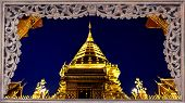 Goldent Pagoda On Top Of Suthap Mountain.