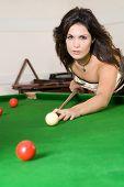 Sexy Woman Playing Billiard