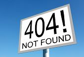 image of not found  - Page not found sign for missing web pages - JPG