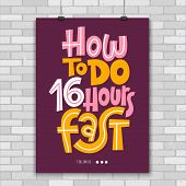 How To Do 16 Hours Fast. Unique Vector Poster With Hand Drawn Lettering Quote About Principle Of Int poster