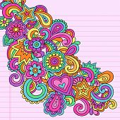 Flower Power Groovy Psychedelic Hand Drawn Abstract Notebook Doodle Design Element on Lined Sketchbo