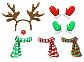 Vector Reindeer Face Template Isolated On White. Antlers Headband Red Nose Scarf And Mittens For Hol poster