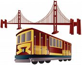 San Francisco Cable Cars und golden Gate bridge
