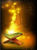 Open side of Holy Quran book on wood stand, over grungy wave background. EPS 10, Vector illustration.