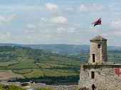 Medieval Castle Tower And Countryside poster