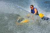 image of ski boat  - Powerful Jet ski in action - JPG