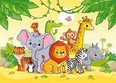 African Landscape With Cute African Animals. Large Set Of Animals. Vector Illustration poster