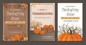 Set Thanksgiving Greeting Cards And Invitations With Pumpkin. Vector Illustration poster