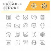 Set Editable Stroke Line Icons Of Contact Us Isolated On White. Email, Phone, Support, Address, Map, poster