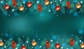 Teal Blue Christmas Background With Decorated Pine Tree Branches Border On Top And Bottom poster