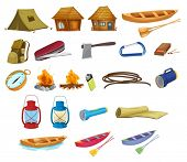 Set of detailed camping equipment on white