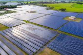 Solar Energy Farm Producing Clean Renewable Energy From The Sun . Thousands Of Solar Panels, Photovo poster