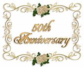 image of 50th  - Image and illustration composition elegant design element for 50th anniversary background or invitation with golden text - JPG