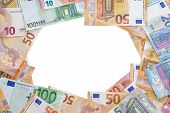 Macup Of Euro Banknotes. Financial Background. Different Euro Banknotes Frame. Business, Finance, In poster
