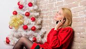 Waiting For Christmas. Wishing Everyone Merry Christmas. Christmas Wishes Concept. Woman Pretty Peac poster