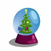 Snow Globe With Christmas Tree. Winter Holiday Decor Vector Illustration On White Background. Christ poster