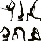 stock photo of dhanurasana  - Yoga positions female figures silhouettes on white - JPG