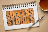 success stories typography - word abstract in vintage letterpress wood type in a spiral sketchbook w poster