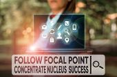 Text Sign Showing Follow Focal Point Concentrate Nucleus Success. Conceptual Photo Concentration Loo poster