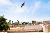 The Aqaba Flagpole Under Ruins Of Medieval Mamluks Fort