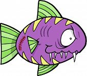 Crazy Insane Fish Vector Illustration