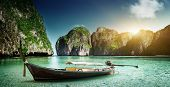 image of phi phi  - boat on sand of Maya bay Phi phi island - JPG