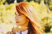 Happy Young Redhead Woman Preparing For Autumn Sunny Day. Autumn Happy People. Cheerful Carefree Aut poster