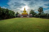 The Big Golden Buddha Statue On Hill, Phuket, Thailand. Beautiful Golden Buddha Inside The Temple Of poster
