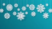 Paper Cut Snowflakes. Christmas Isolated Filigree Decoration Elements, Winter Snow Abstract Backgrou poster