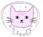 Hand Drawn Illustration Of A Funny Cat Face In A Chain, With Text Meow. Design Concept For Children. poster