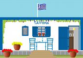 picture of greek food  - A Traditional Greek Taverna with Table Chairs Flowers surrounded by Grapevine - JPG