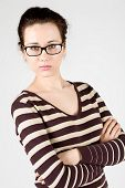 young attractive woman wearing spectacles.