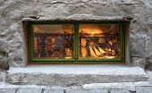 Gift Shop Window. You Can See Retro Toys, A Model Of A Sailing Ship. The Window Is Highlighted In Ye poster