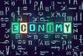 The Word Economy As Neon Glowing Unique Typeset Symbols, Luminous Letters Economy poster
