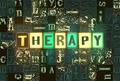The Word Therapy As Neon Glowing Unique Typeset Symbols, Luminous Letters Therapy poster