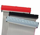 Ide Connectors And Ribbon Cables For Hard Drive On Pc Computer, Isolated, Red, Grey, Black