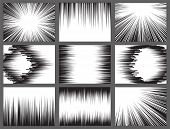 Black White Comic Book Speed Lines, Explosion Effect. Abstract Vector Radial Zoom Speed Light, Motio poster