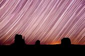 Star Trails Over The Buttes Of Monument Valley Taken Over A 3 Hour Time Lapse