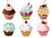 Cupcakes 3d Set. Realistic Sweet Dessert With Cream And Berries, Vanilla Cakes. Chocolate Cupcake, C poster