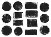 Grunge Post Stamps. Round And Rectangular Badges With Distressed Texture. Scratched Blank Rubber Sea poster